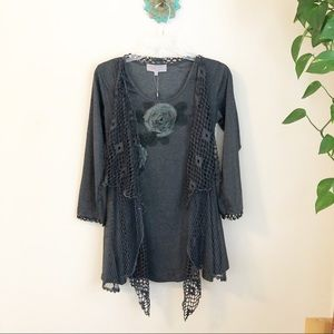 Pretty Angel mesh asymmetric boho top gray small